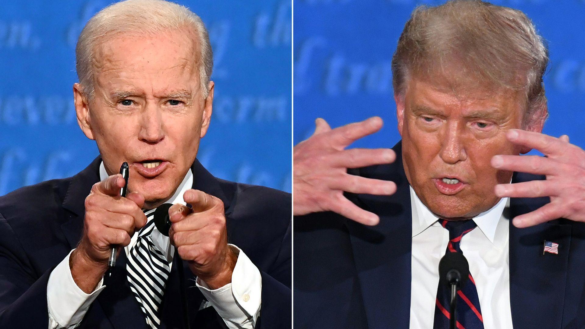 Hai ứng viên Trump và Biden sẽ bị tắt micro khi đối thủ phát biểu tại cuộc tranh luận cuối - Ảnh 1.