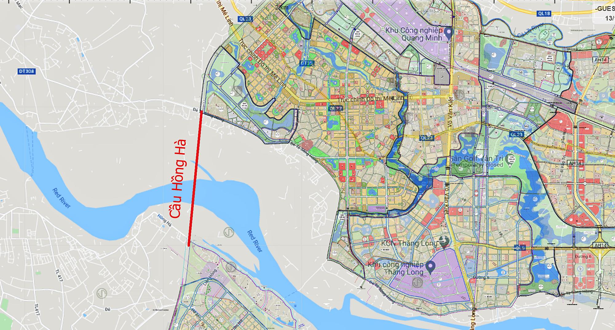 Cầu sẽ mở theo qui hoạch ở Hà Nội: Toàn cảnh vị trí làm cầu Hồng Hà nối Đan Phượng với Mê Linh - Ảnh 1.