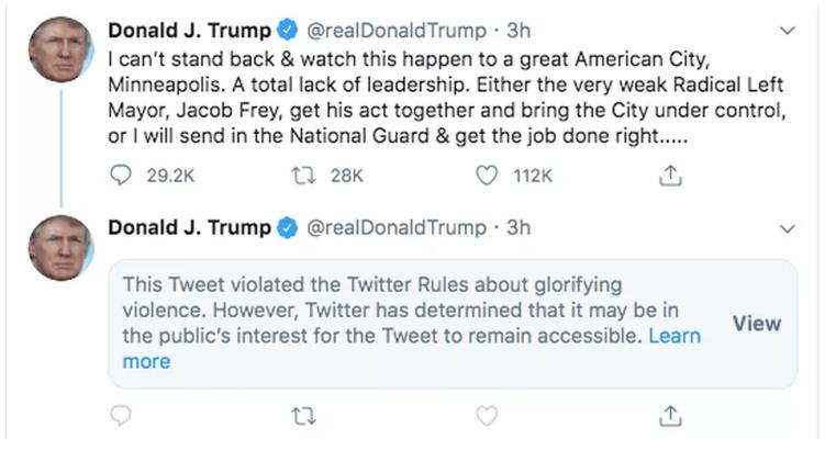 Căng thẳng leo thang khi Twitter ẩn dòng tweet mới của Tổng thống Trump - Ảnh 1.