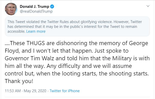 Căng thẳng leo thang khi Twitter ẩn dòng tweet mới của Tổng thống Trump - Ảnh 2.