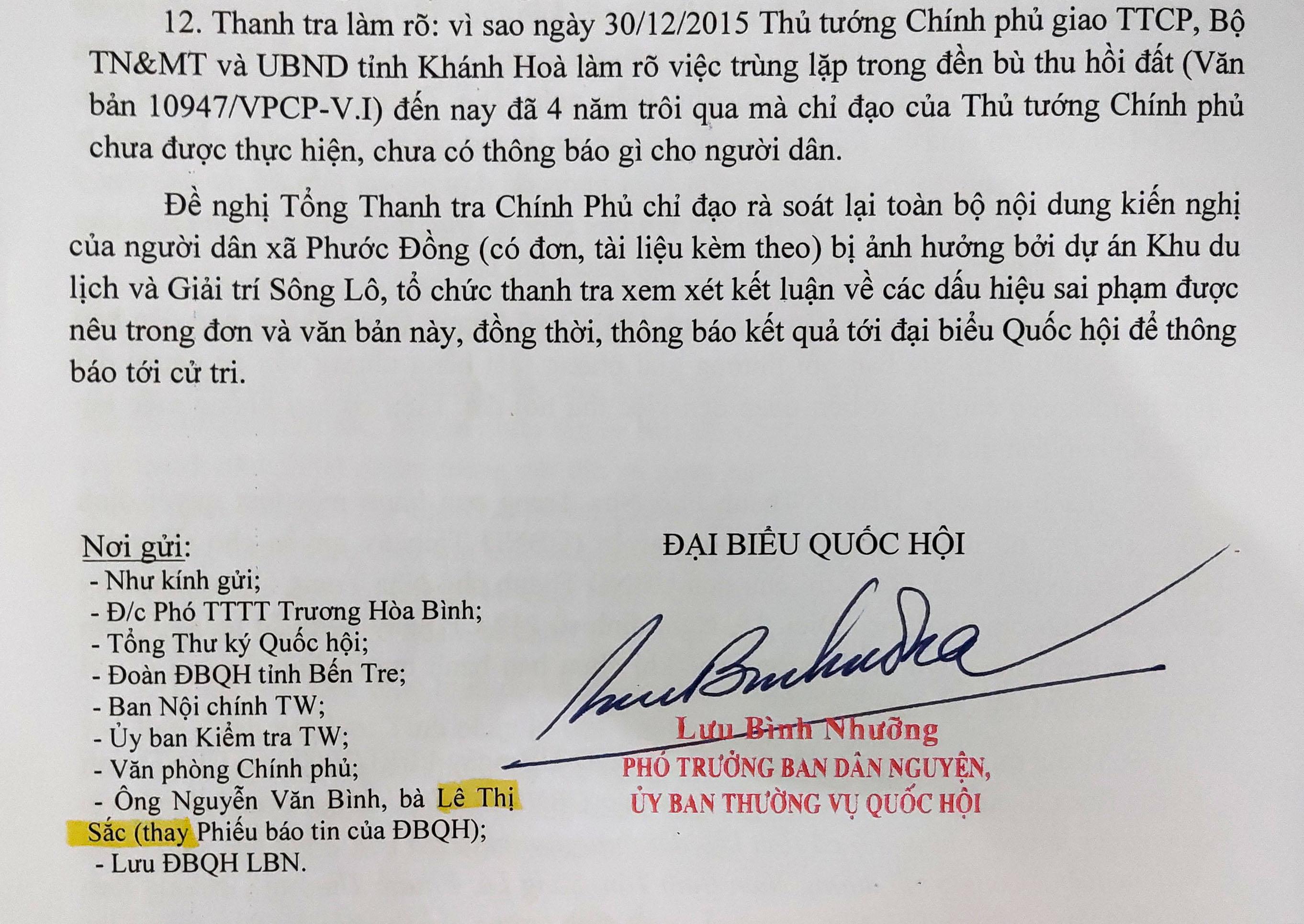 ĐBQH Lưu Bình Nhưỡng đề nghị Tổng Thanh tra Chính phủ làm rõ những sai phạm tại dự án Diamond Bay Nha Trang - Ảnh 3.