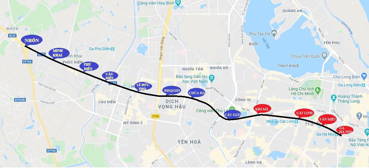 12 vị trí ga dừng tuyến đường sắt đô thị số 3 của Hà Nội - Ảnh 1.