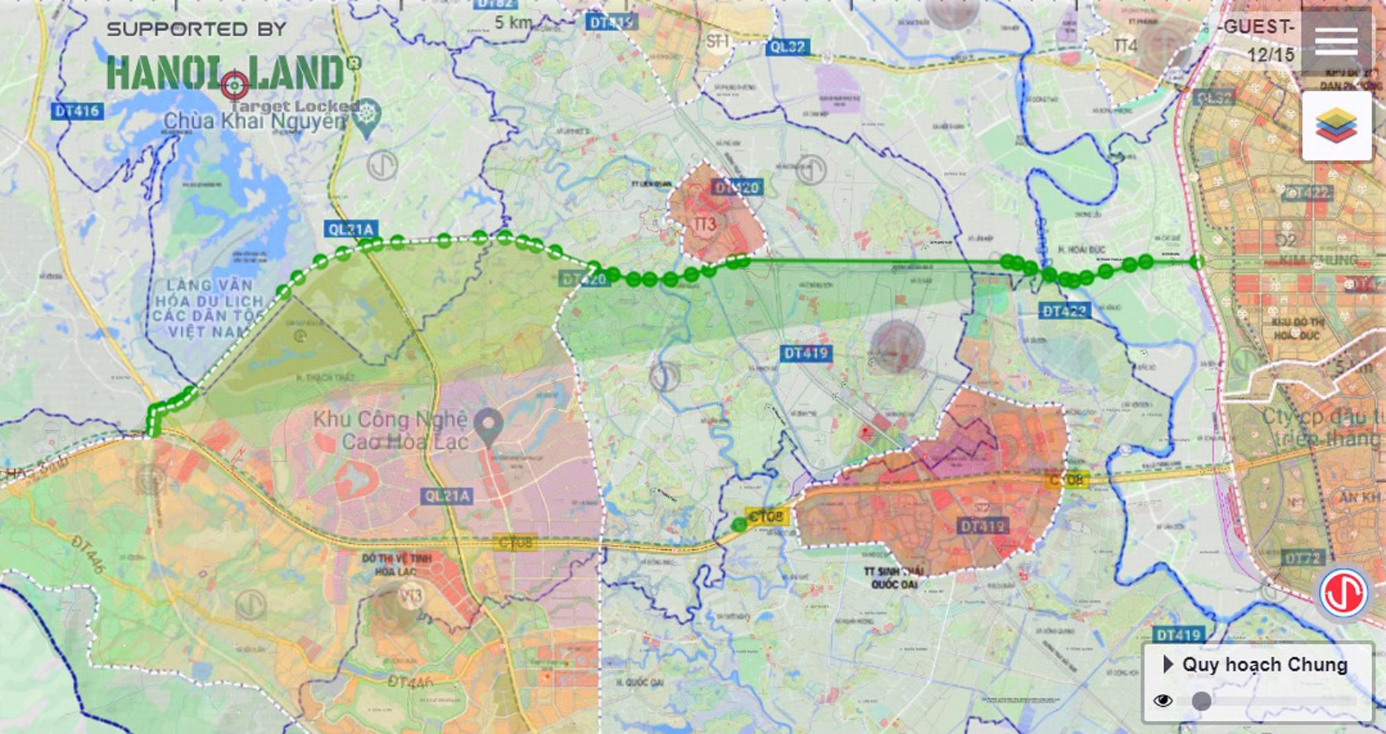 Trục đường Hồ Tây - Ba Vì qua Hòa Lạc sẽ mở theo qui hoạch: Toàn cảnh đoạn Vành đai 4 đến đường Hòa Lạc - Hòa Bình - Ảnh 1.