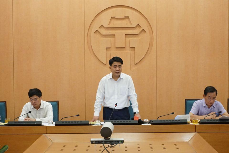 Chủ tịch UBND TP Hà Nội Nguyễn Đức Chung phát biểu tại cuộc họp. (Ảnh: VGP News).