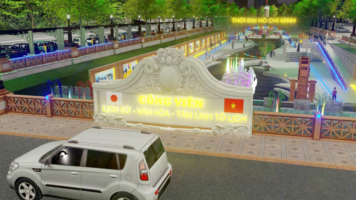 """Mô phỏng công viên Lịch sử-Văn hoá-Tâm linh Tô Lịch"""" tương lai. (Ảnh: JVE)."""