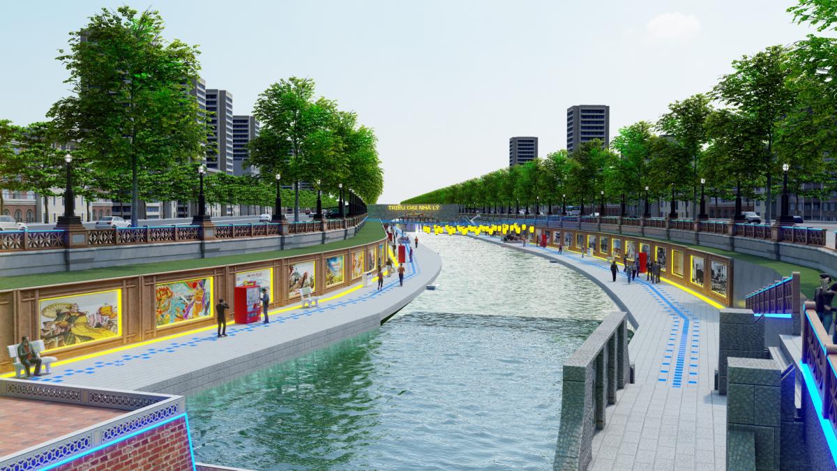 Cảnh quan người dân dạo mát hai bên bờ sông Tô Lịch theo hướng đề xuất. (Ảnh: Dân trí).