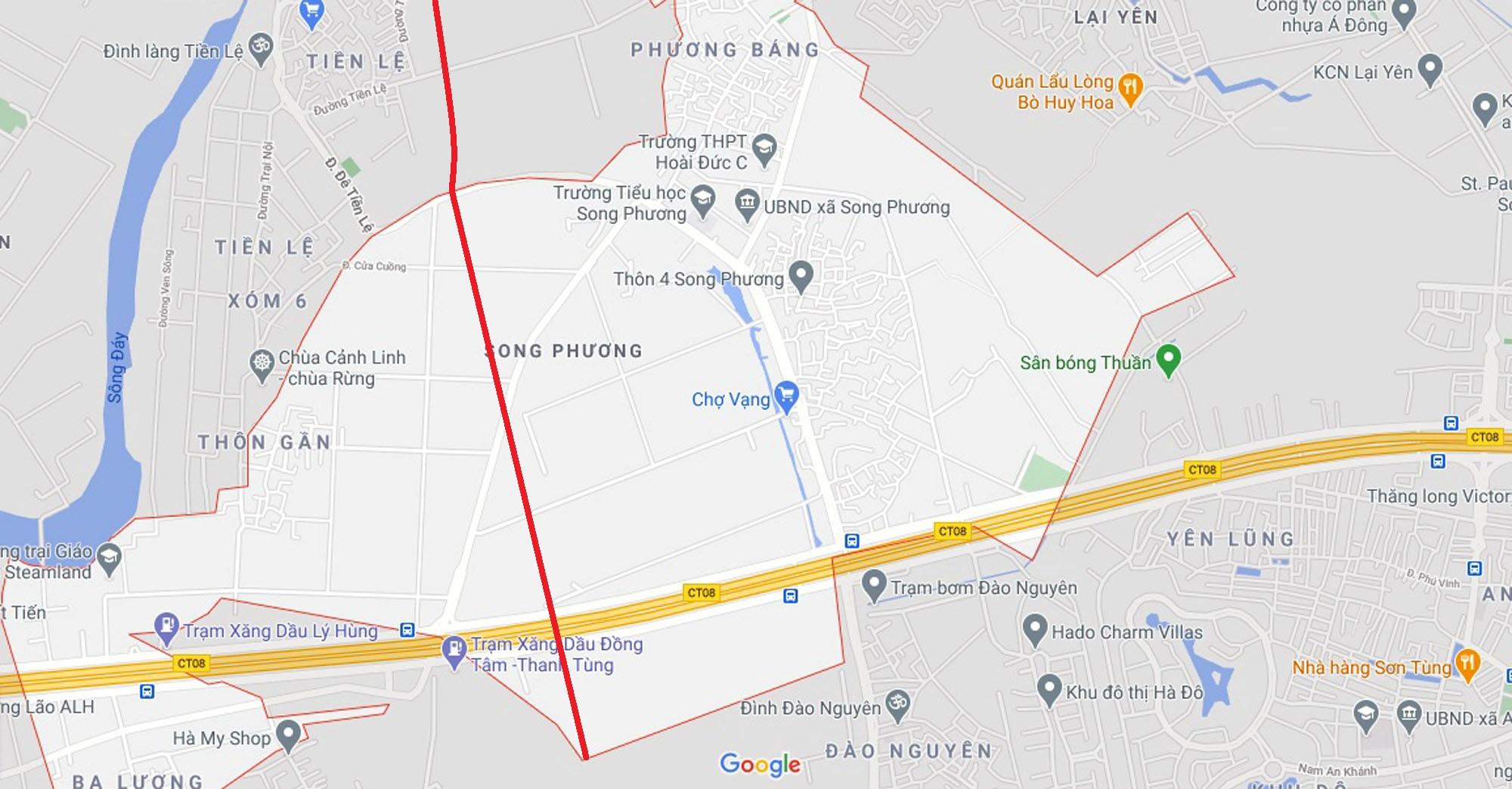 Ba đường sẽ mở theo quy hoạch ở xã Song Phương, Hoài Đức, Hà Nội - Ảnh 2.