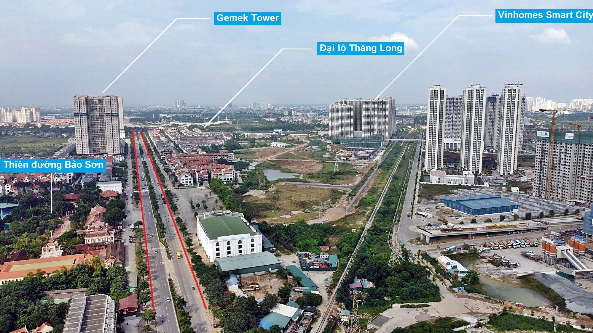 Toàn cảnh đường Vành đai 3,5 đang thi công qua huyện Hoài Đức, Hà Nội - Ảnh 1.