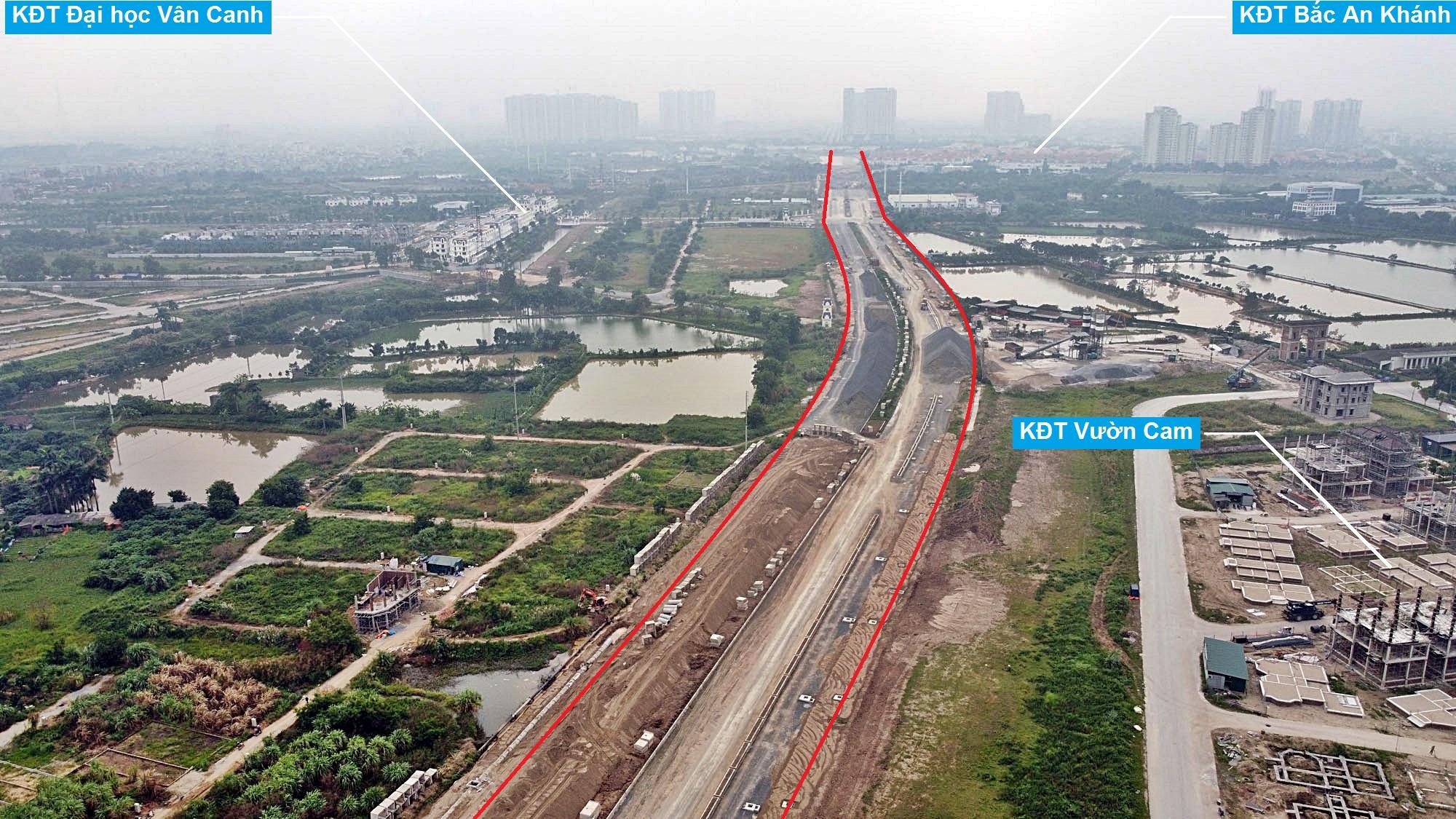 Toàn cảnh đường Vành đai 3,5 đang thi công qua huyện Hoài Đức, Hà Nội - Ảnh 7.