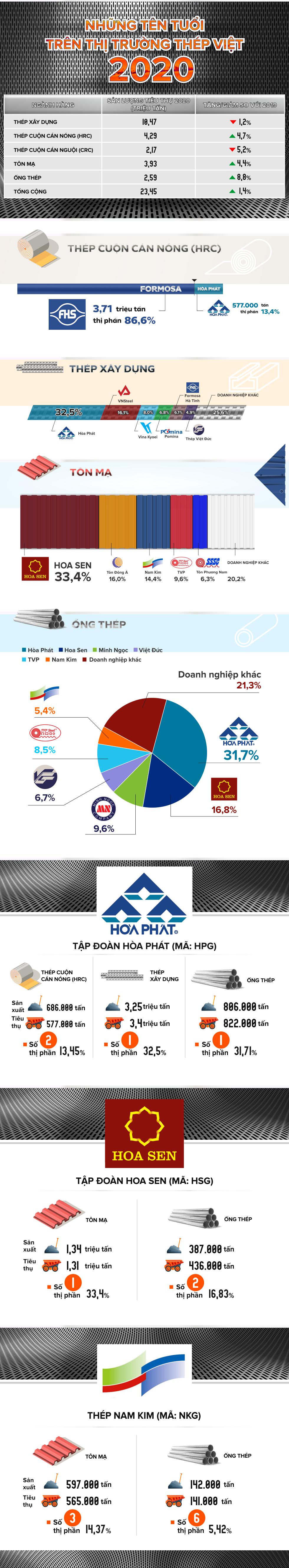 [Infographic] Những tên tuổi lớn trên thị trường thép Việt 2020 - Ảnh 1.