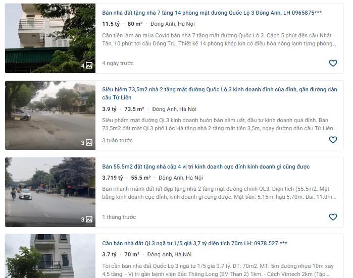 Giá đất Quốc lộ 3, Thị trấn Đông Anh, Hà Nội: Cao nhất hơn 14 triệu đồng - Ảnh 3.