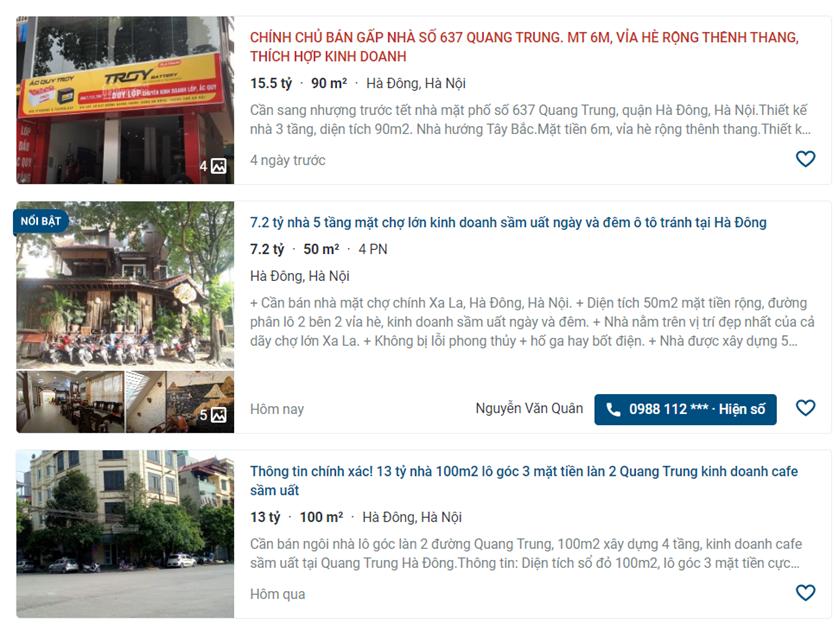 Giá đất đường Quang Trung, Hà Đông, Hà Nội: Cao nhất hơn 21 triệu đồng/m2 - Ảnh 1.