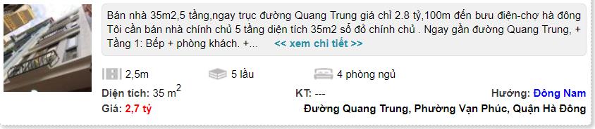 Giá đất đường Quang Trung, Hà Đông, Hà Nội: Cao nhất hơn 21 triệu đồng/m2 - Ảnh 3.