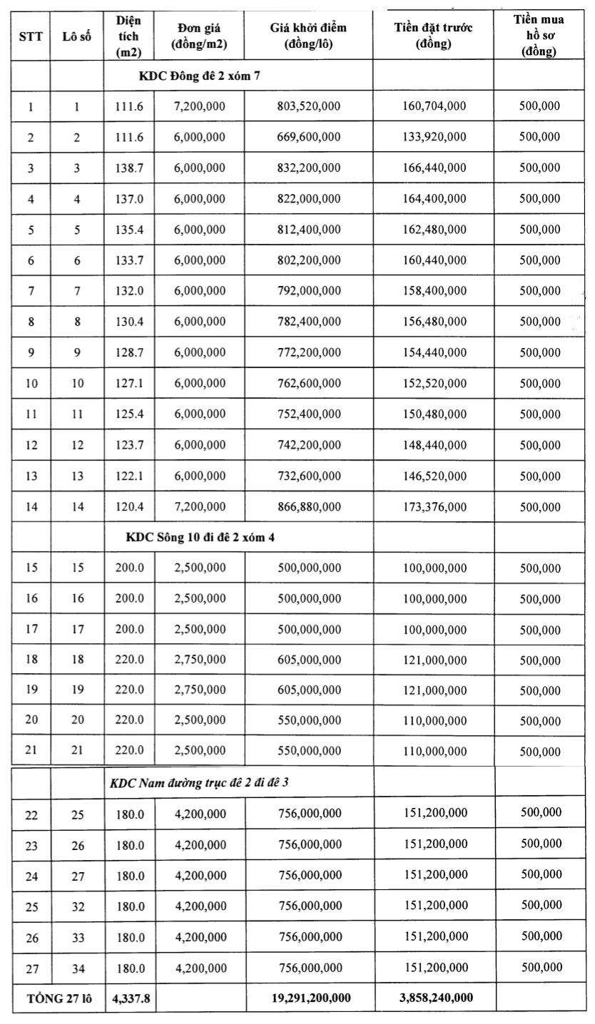 Thanh Hóa đấu giá 50 lô đất tại Nga Sơn, khởi điểm từ 500 triệu đồng/lô - Ảnh 1.