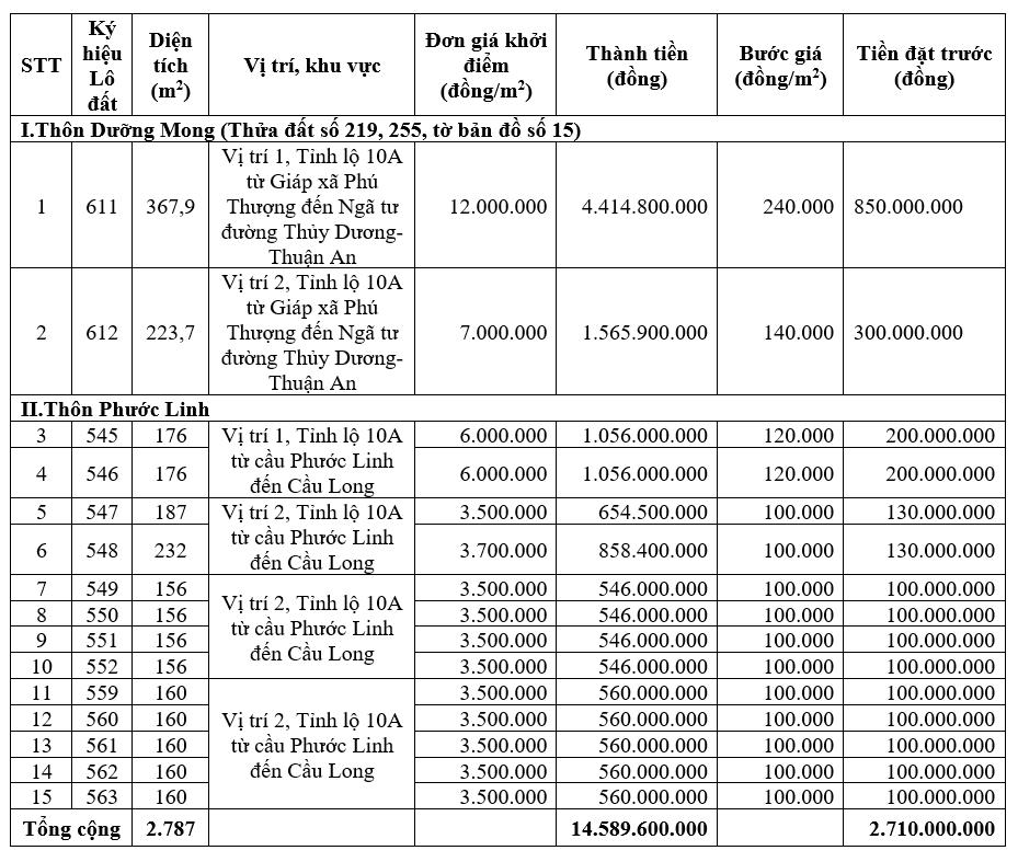 Phú Vang, Thừa Thiên Huế đấu giá 15 lô đất, khởi điểm từ 560 triệu đồng/lô - Ảnh 1.