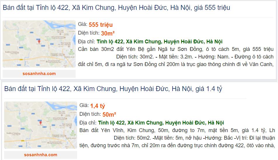 Giá đất đường Tỉnh lộ 422, xã Kim Chung, Hoài Đức, Hà Nội - Ảnh 4.