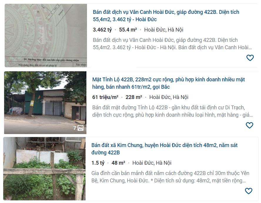 Giá đất đường Tỉnh lộ 422B, Hoài Đức, Hà Nội - Ảnh 3.