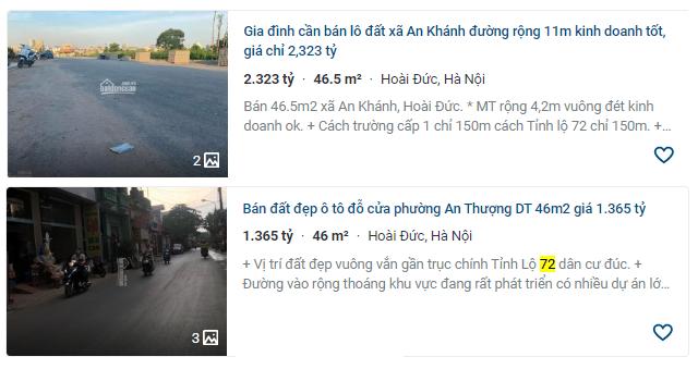 Giá đất đường Tỉnh lộ 72, Hoài Đức, Hà Nội - Ảnh 3.