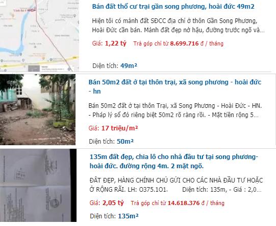 Giá đất đường Sơn Đồng – Song Phương, Hoài Đức, Hà Nội - Ảnh 3.