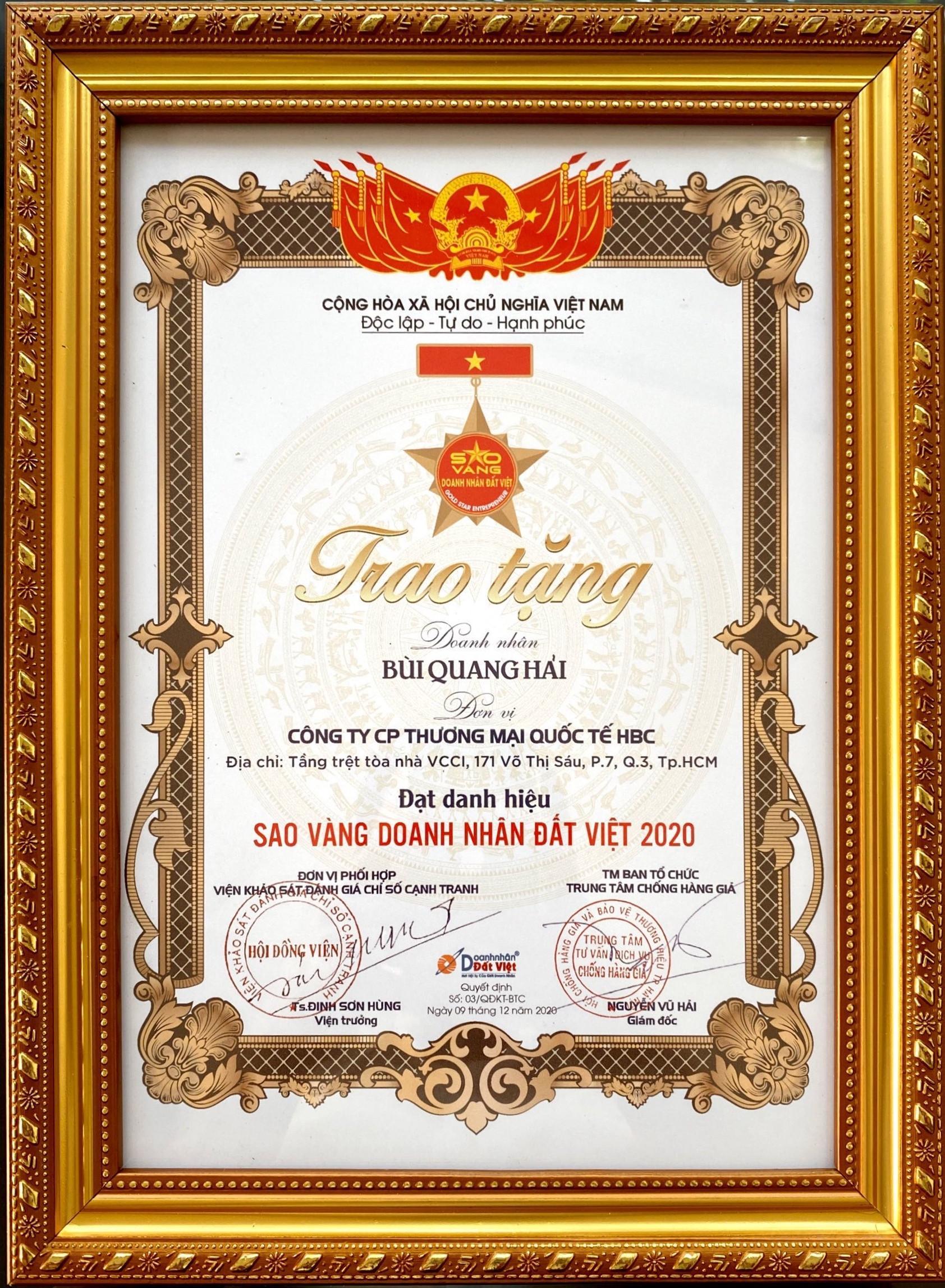 'Sao Vàng Doanh Nhân Đất Việt' vinh danh Tổng giám đốc Công ty HBC - Ảnh 3.