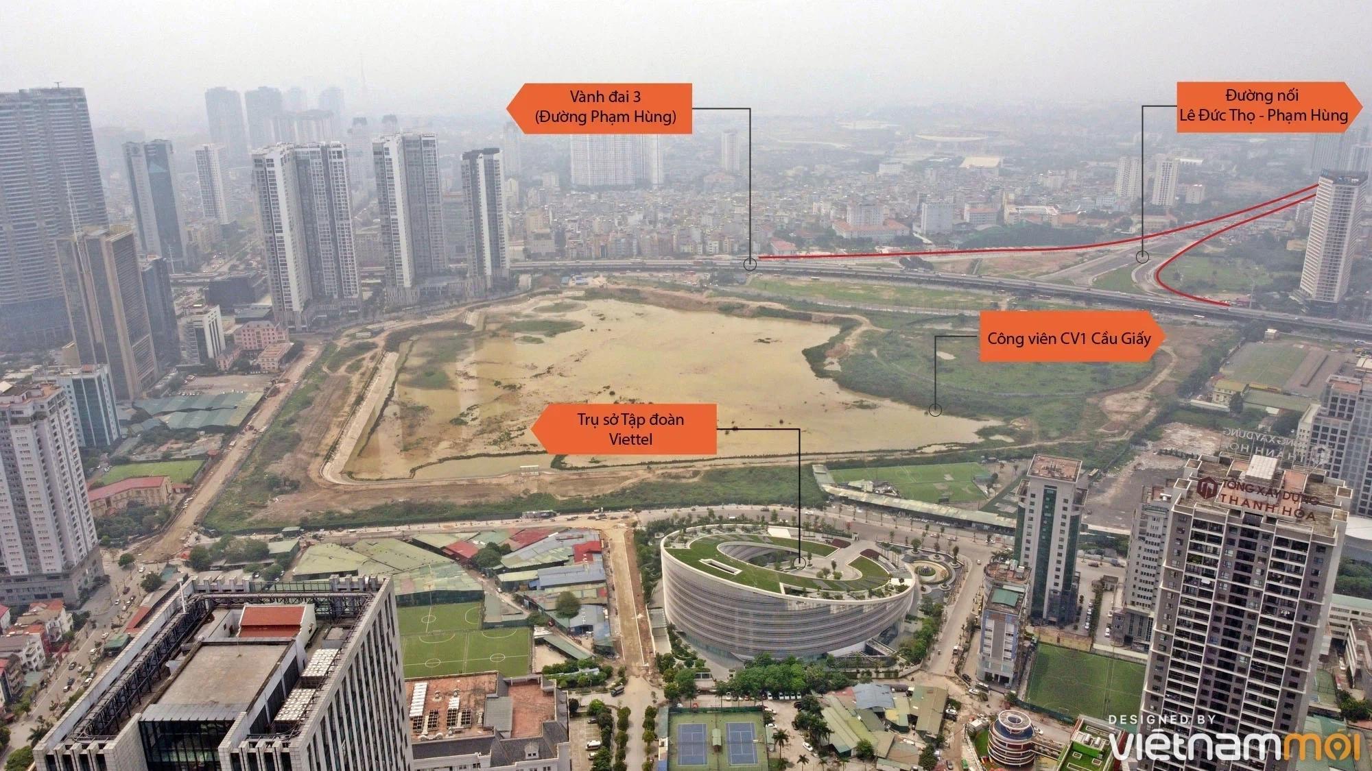 Toàn cảnh đường nối Lê Đức Thọ - Phạm Hùng đang mở theo quy hoạch ở Hà Nội - Ảnh 1.