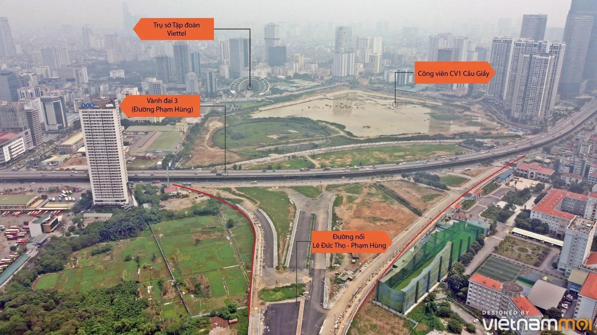 Toàn cảnh đường nối Lê Đức Thọ - Phạm Hùng đang mở theo quy hoạch ở Hà Nội - Ảnh 2.