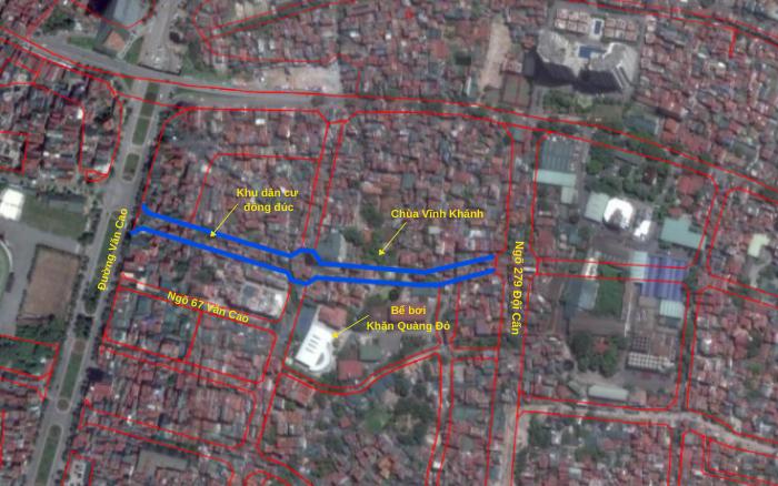 Đường sắp mở theo quy hoạch ở phường Liễu Giai, Ba Đình, Hà Nội (phần 3): Hai đường nối từ Văn Cao đến ngõ 279 Đội Cấn kéo dài - Ảnh 3.
