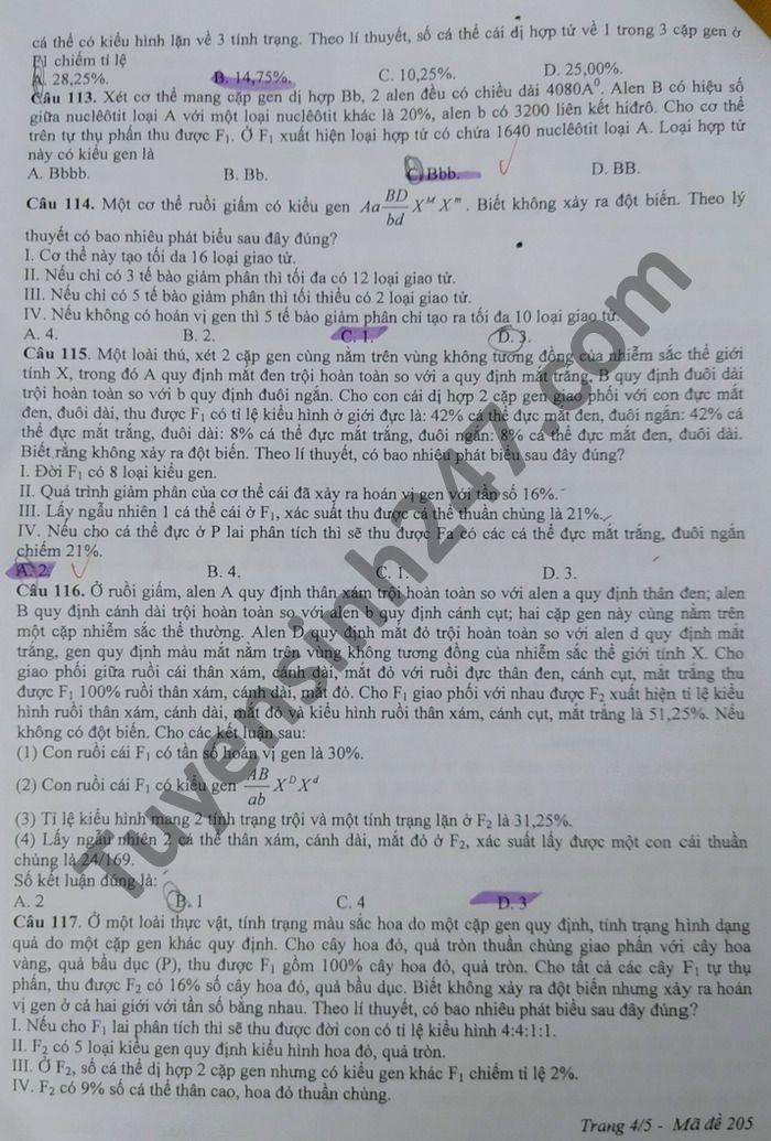 Đề thi thử THPT quốc gia 2021 môn Sinh học trường THPT Phan Ngọc Hiển (có đáp án chi tiết) - Ảnh 4.