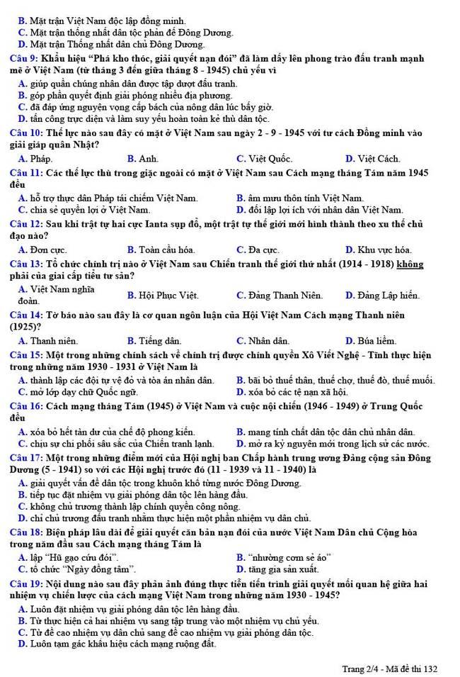 Đề thi thử THPT quốc gia 2021 môn Lịch sử THPT chuyên Nguyễn Trãi lần 1 (có đáp án) - Ảnh 2.