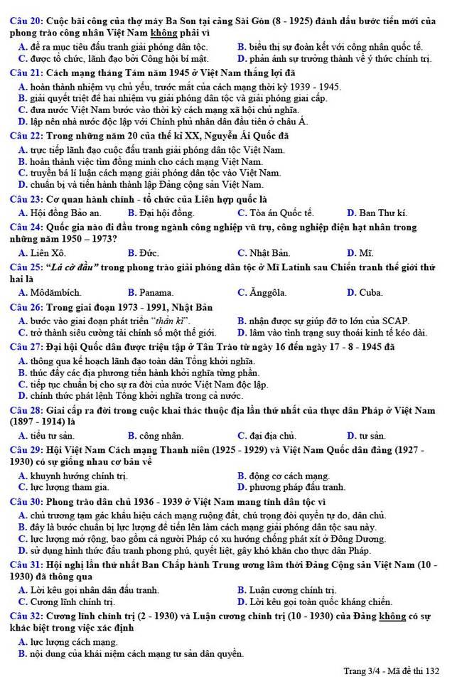Đề thi thử THPT quốc gia 2021 môn Lịch sử THPT chuyên Nguyễn Trãi lần 1 (có đáp án) - Ảnh 3.