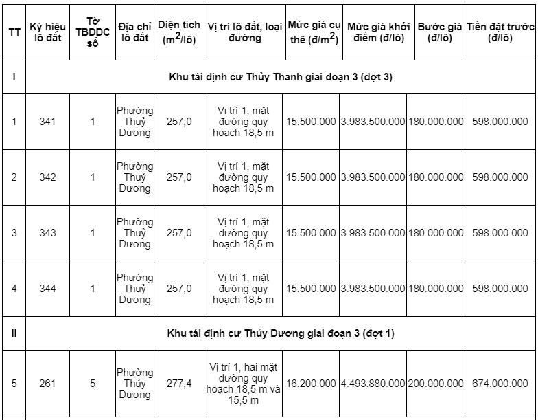 Đấu giá hơn 6.000 m2 các khu tái định cư tại tỉnh Thừa Thiên Huế - Ảnh 1.