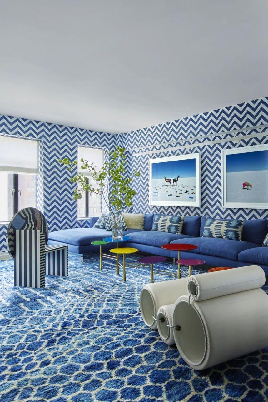 Tham khảo cách trang trí phòng khách ấn tượng bằng giấy dán tường - Ảnh 1.