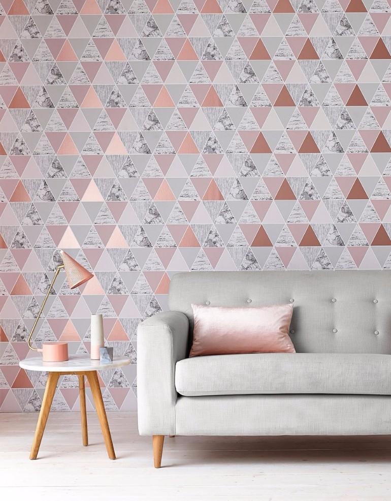 Tham khảo cách trang trí phòng khách ấn tượng bằng giấy dán tường - Ảnh 4.