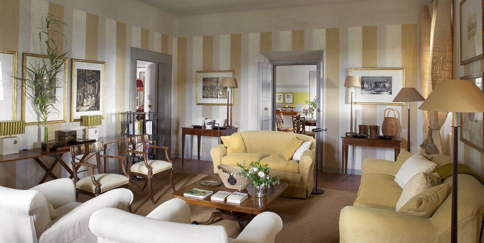 Tham khảo cách trang trí phòng khách ấn tượng bằng giấy dán tường - Ảnh 2.