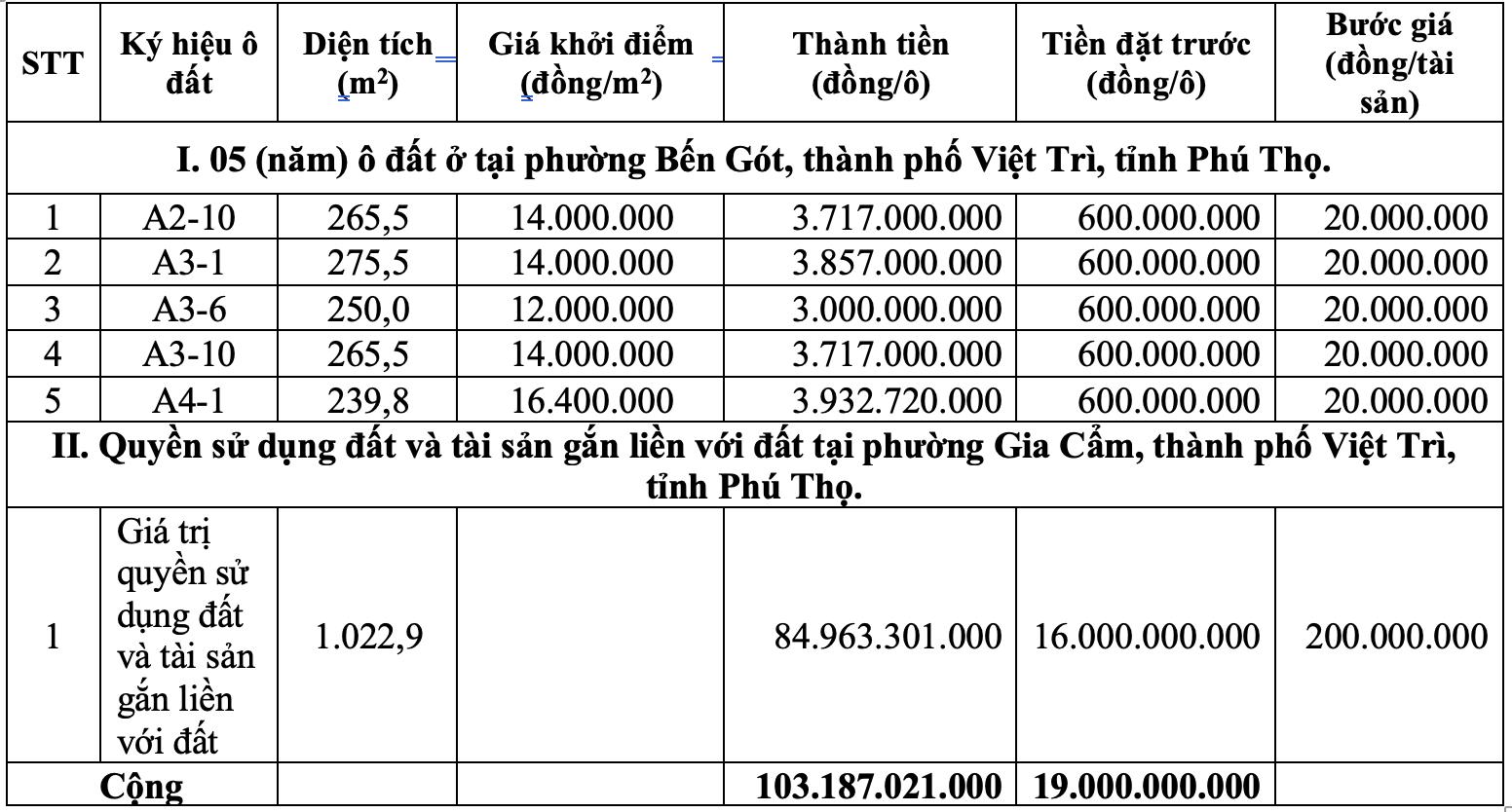 Đấu giá 6 ô đất tại TP Việt Trì, tỉnh Phú Thọ, tổng giá khởi điểm hơn 100 tỷ đồng - Ảnh 1.