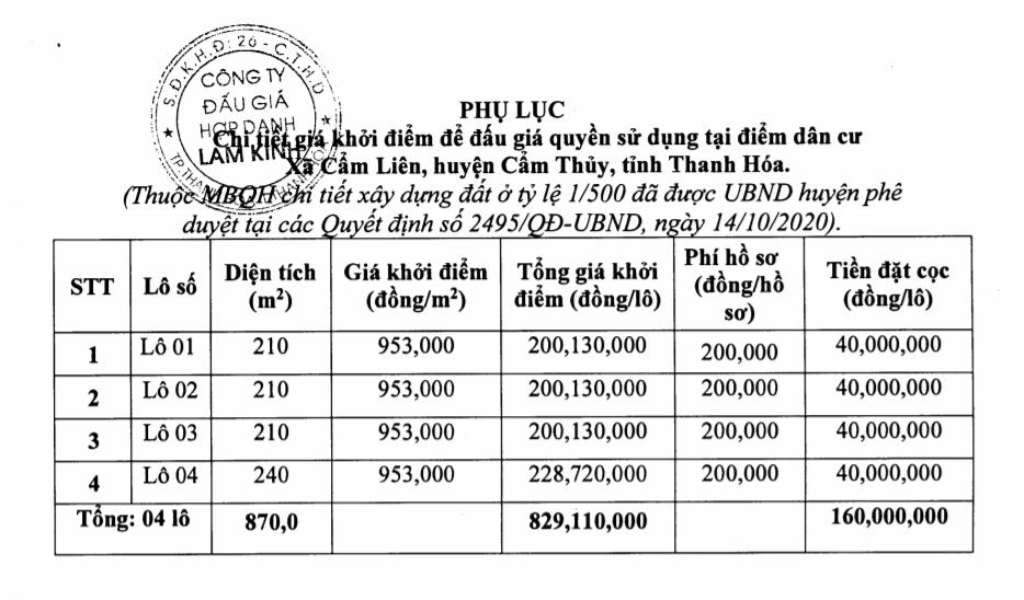 Thanh Hóa sắp đấu giá 4 lô đất ở tại Cẩm Thủy, khởi điểm 953 nghìn đồng/m2 - Ảnh 1.