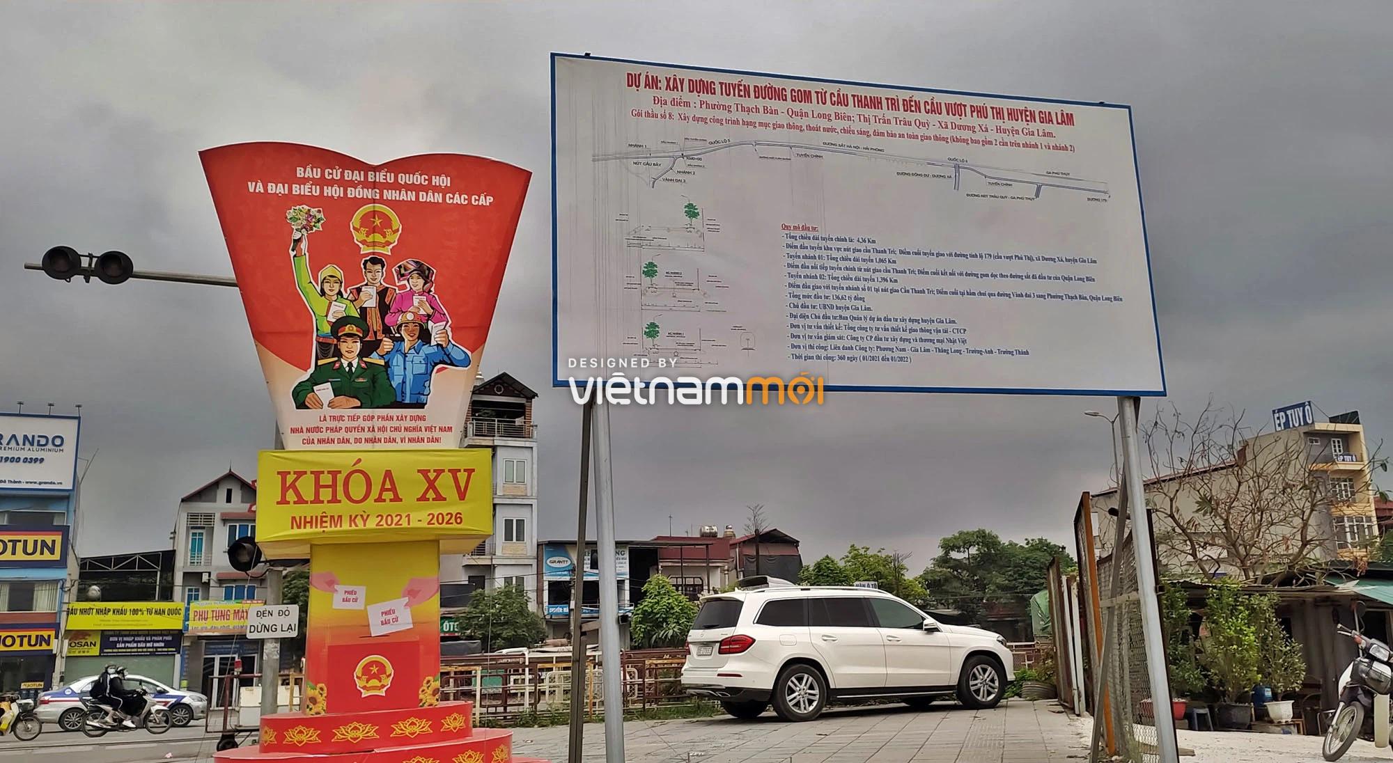 Toàn cảnh tuyến đường gom từ cầu Thanh Trì đến cầu vượt Phú Thị đang mở theo quy hoạch ở Hà Nội - Ảnh 6.