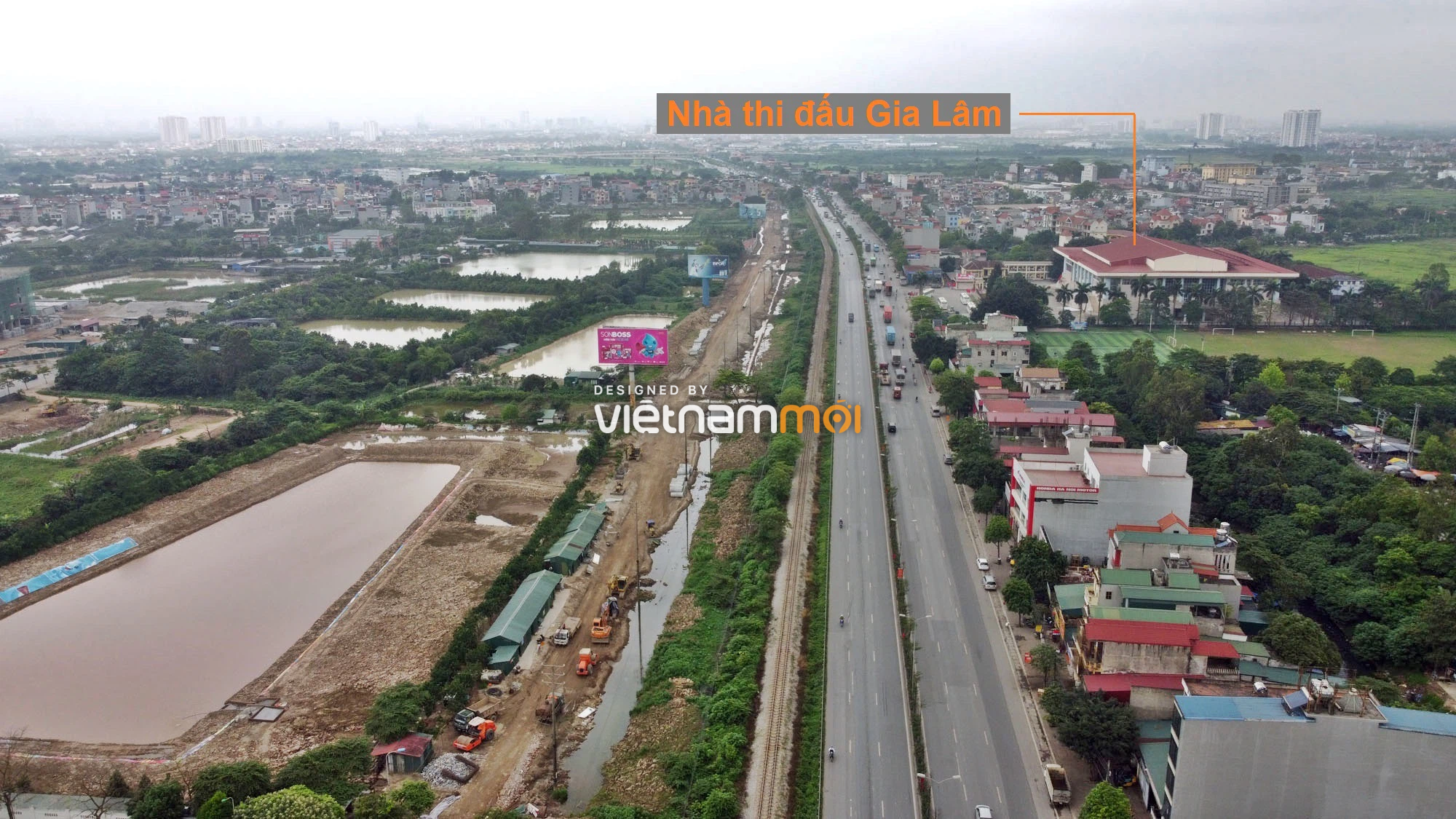 Toàn cảnh tuyến đường gom từ cầu Thanh Trì đến cầu vượt Phú Thị đang mở theo quy hoạch ở Hà Nội - Ảnh 8.