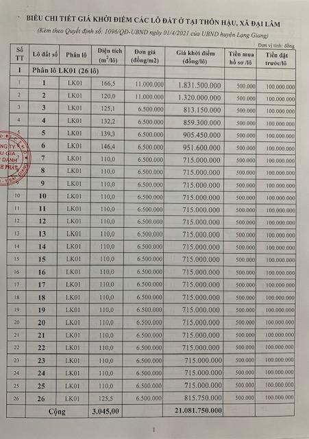 Đấu giá 74 lô đất tại huyện Lạng Giang tỉnh Bắc Giang  - Ảnh 2.