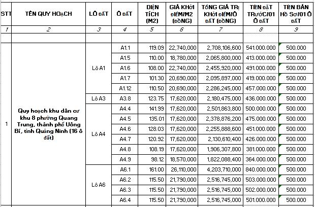 Quảng Ninh đấu giá 92 ô đất, tổng diện tích hơn 11.000 m2  - Ảnh 1.