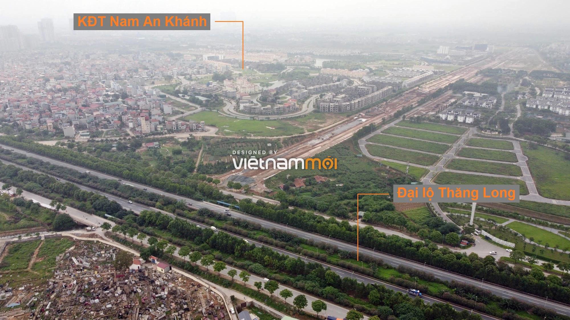 Toàn cảnh đường nối Đại lộ Thăng Long - tỉnh lộ 423 qua KĐT Nam An Khánh đang mở theo quy hoạch ở Hà Nội - Ảnh 1.