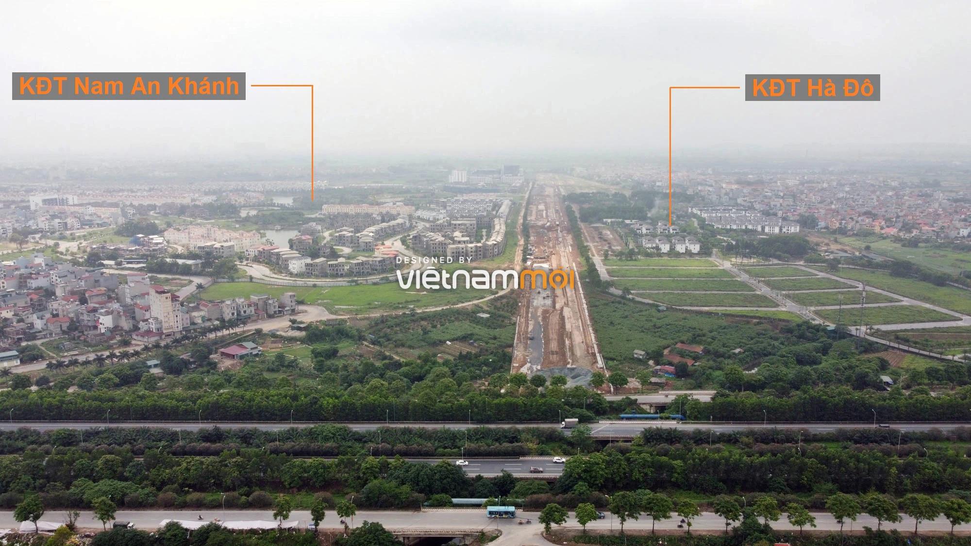 Toàn cảnh đường nối Đại lộ Thăng Long - tỉnh lộ 423 qua KĐT Nam An Khánh đang mở theo quy hoạch ở Hà Nội - Ảnh 2.