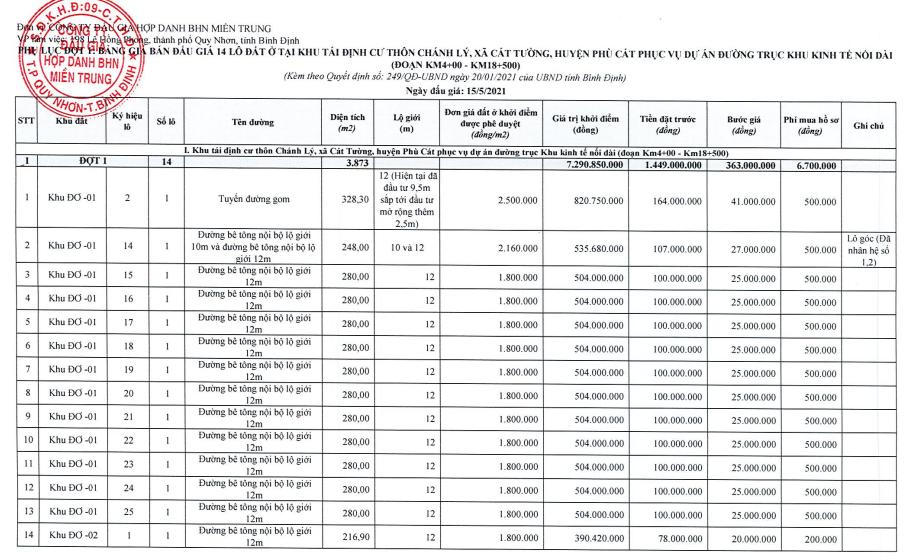 Bình Định đấu giá 47 lô đất tái định cư, khởi điểm từ một triệu đồng/m2 - Ảnh 2.