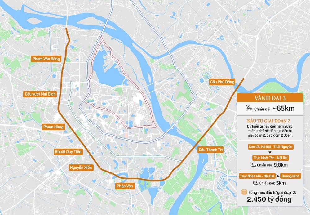 Hệ thống 7 đường vành đai của Hà Nội: Hai tuyến chưa hình thành, 5 tuyến còn lại tổng mức đầu tư gần 150.000 tỷ - Ảnh 5.