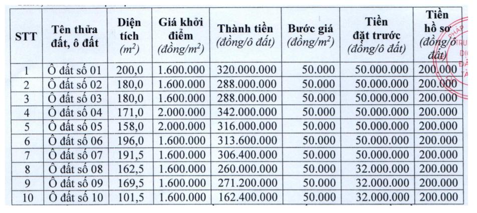 Lâm Thao, Phú Thọ đấu giá 10 lô đất tại, khởi điểm từ 1,6 triệu đồng/m2 - Ảnh 1.