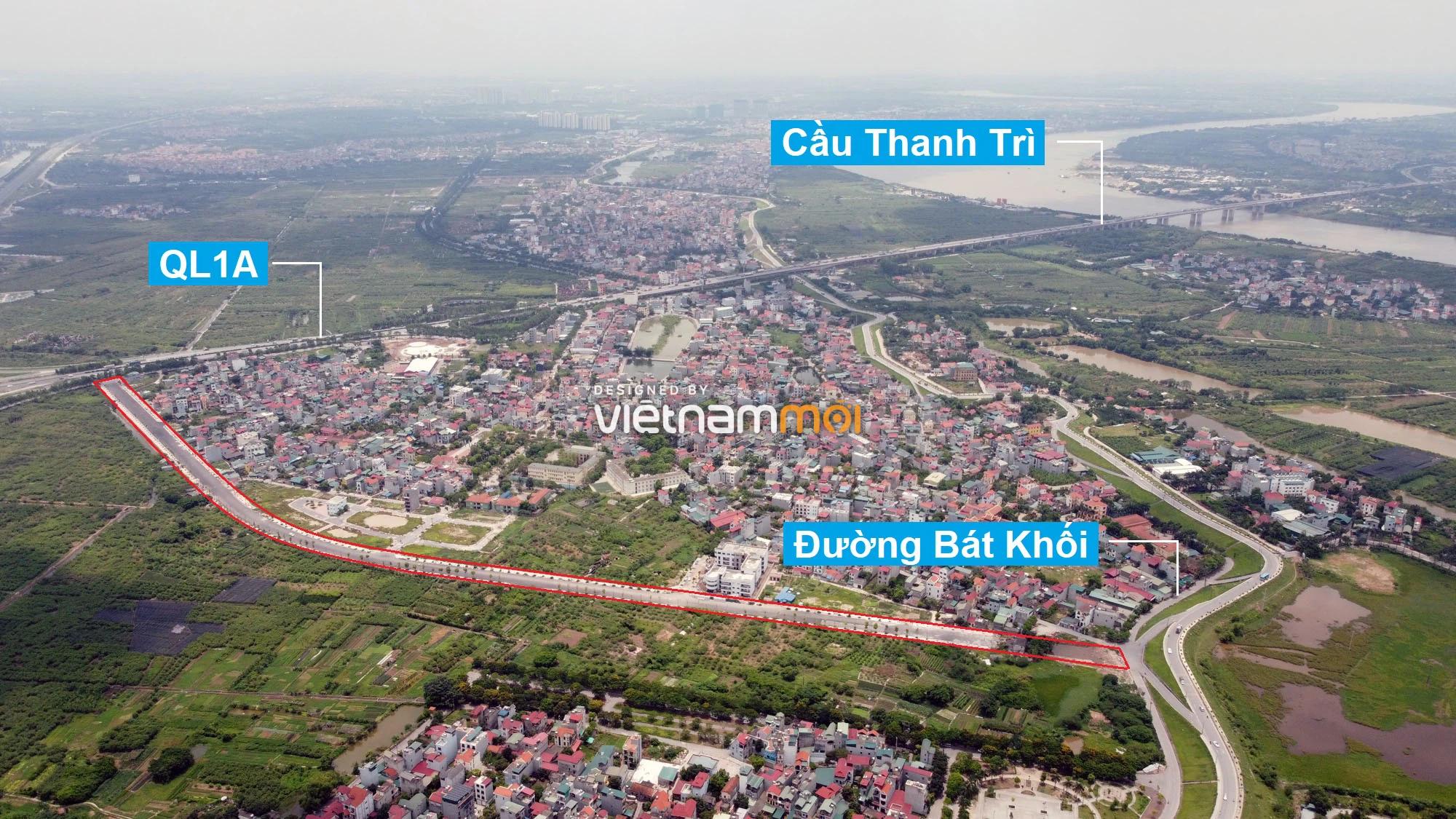 Toàn cảnh đường nối Bát Khối - QL1A đang mở theo quy hoạch ở quận Long Biên, Hà Nội - Ảnh 1.