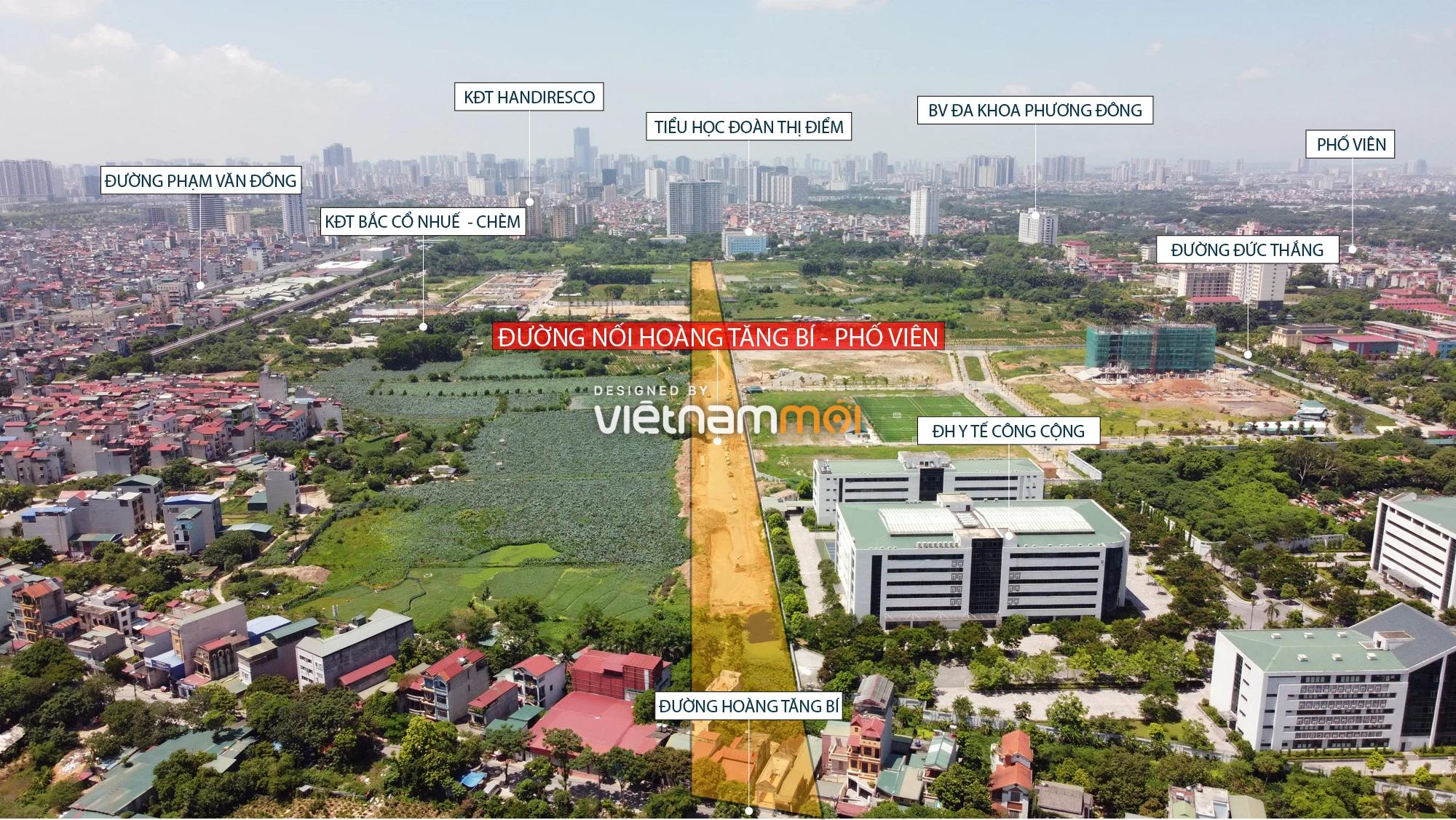Toàn cảnh tuyến đường nối Hoàng Tăng Bí - Phố Viên đang mở theo quy hoạch ở Hà Nội - Ảnh 1.