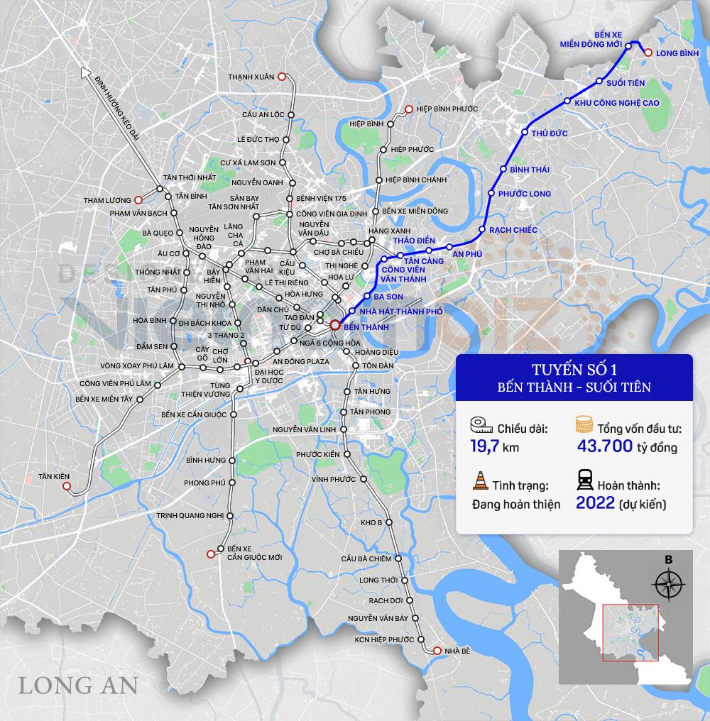 8 tuyến đường sắt đô thị của TP HCM: Metro số 1 chạy thương mại năm 2022, Metro số 2 GPMB xong trong năm nay - Ảnh 2.
