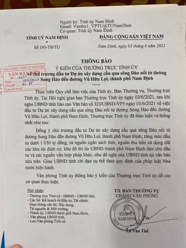 Nam Định chủ trương đầu tư 2 dự án cầu, đường nghìn tỷ - Ảnh 1.