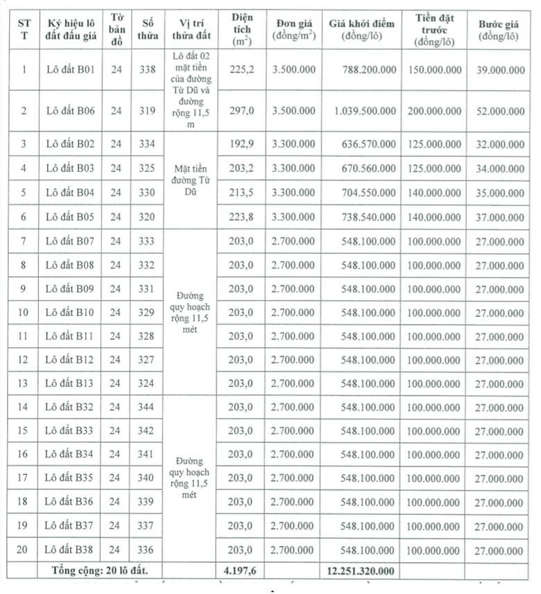 Phú Lộc, Thừa Thiên Huế đấu giá 20 lô đất, khởi điểm từ 2,7 triệu đồng/m2 - Ảnh 1.